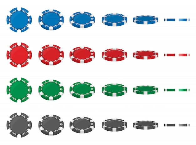 Casino poker chips flip different angles position.