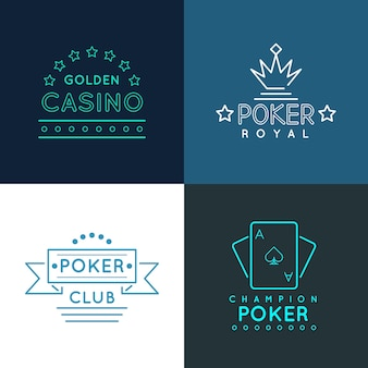 Casino and poker club labels and emblems, logos set in linear outline style. gambling play design, royal gamble banner, vector illustration