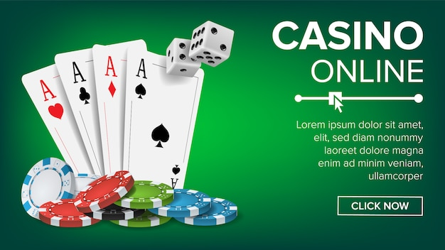 Casino poker design banner template
