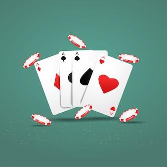 Дизайн казино покер с игральными картами и фишками