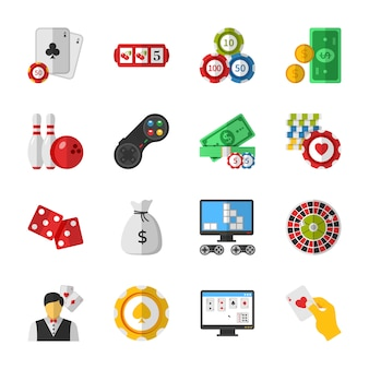 Casino, poker and gambling icons