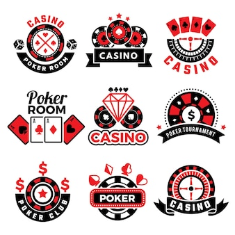 Casino and poker logo set with game chips