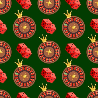 Casino and poker seamless pattern with dice and roulette on green