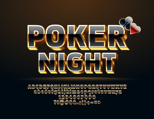 Casino poker. set of black and gold letters, numbers and symbols. chic 3d font