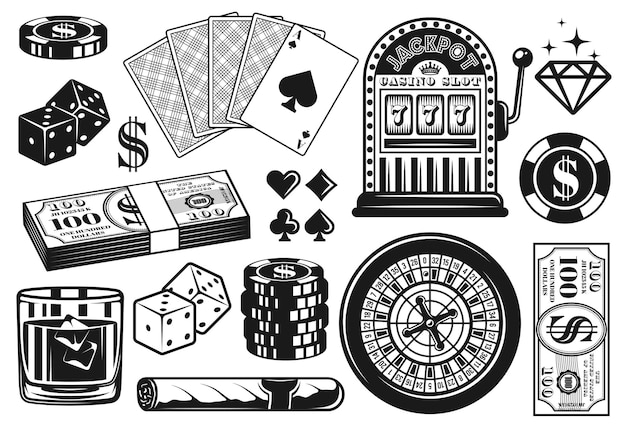 Casino and poker set of black objects or elements