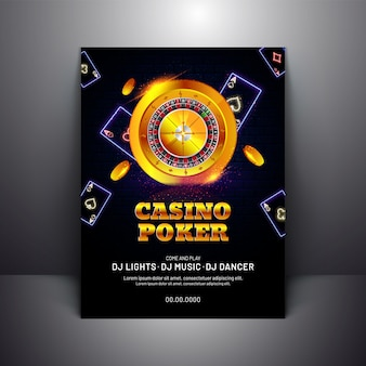 Casino poker template or flyer design with golden roulette wheel