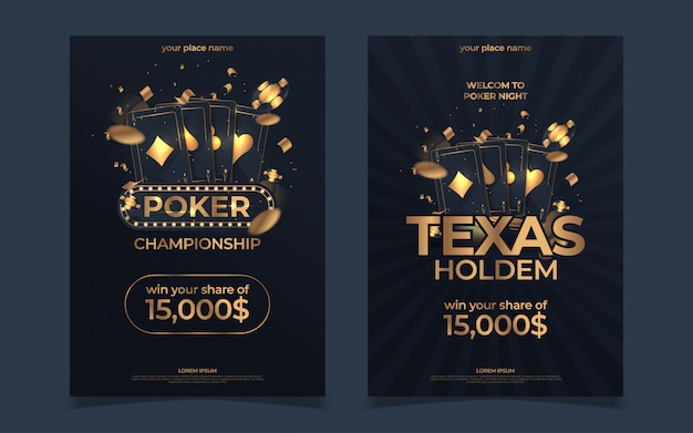 Дизайн покерного турнира в казино. золотой текст с игрой фишки и карты. покер вечеринка а4 флаер шаблон.