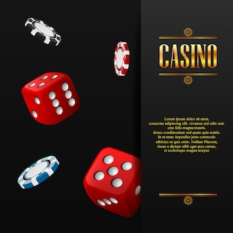 Casino poster with chip and dice
