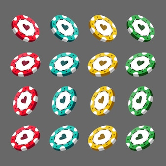 Casino realistic chips for poker or roulette. elements to design logo, website or background. vector illustration isolated on white background.