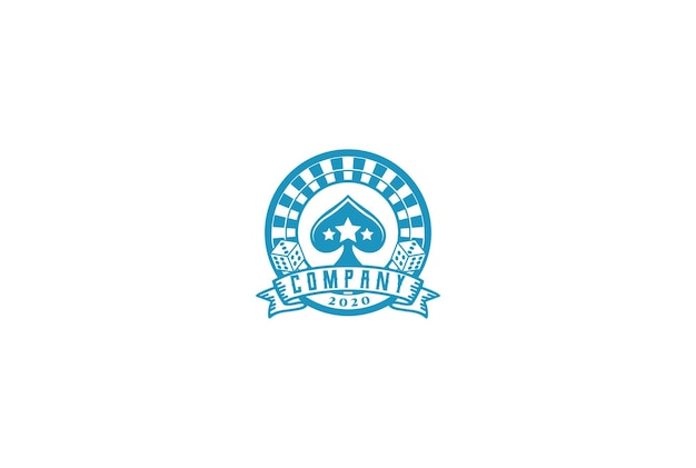 Casino rolling with dice and spade ace card для игр, азартных игр, логотип дизайн вектор