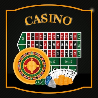 Casino roulette ans table with cards vector illustration graphic design