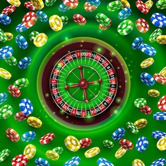 Монеты большого выигрыша рулетки казино на зеленом фоне. векторная иллюстрация