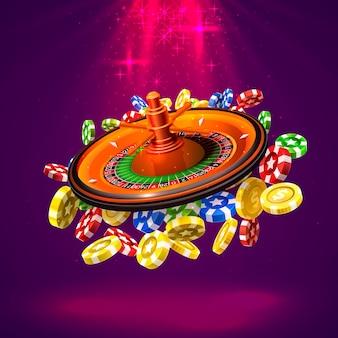 카지노 룰렛은 빨간색 배경에 큰 승리 동전입니다. 벡터 일러스트 레이 션