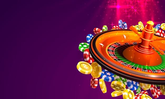 Монеты большого выигрыша рулетки казино на красном фоне. векторная иллюстрация