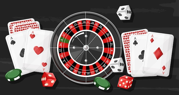 Casino roulette composition with rolling dices, playing cards and chips on dark