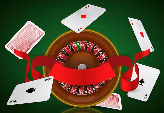 Casino roulette, flying aces and red ribbon. casino business advertising