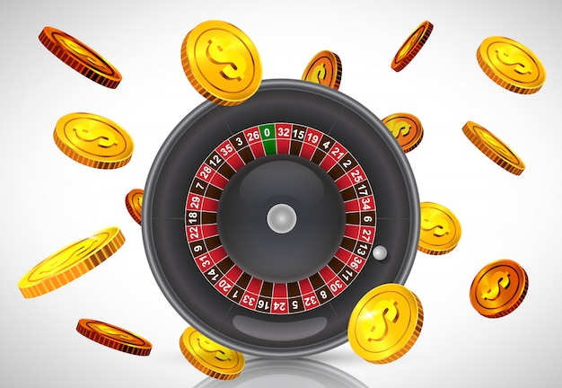 Casino roulette and flying golden coins. casino business advertising
