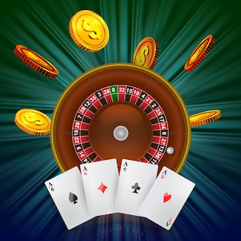 Casino roulette, flying golden coins and four aces. casino business advertising