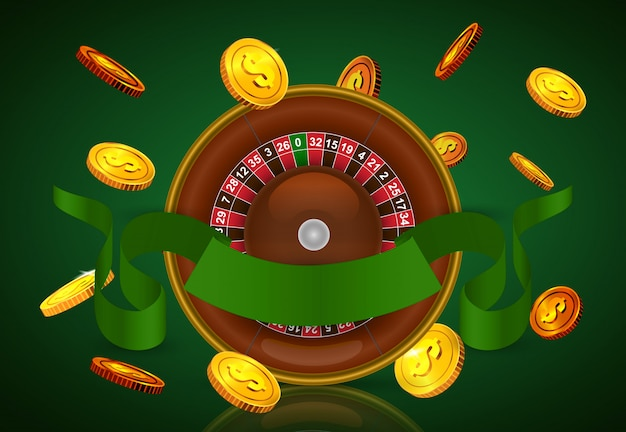 Casino roulette, flying golden coins and green ribbon. casino business advertising