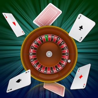 Casino roulette and flying playing cards. casino business advertising