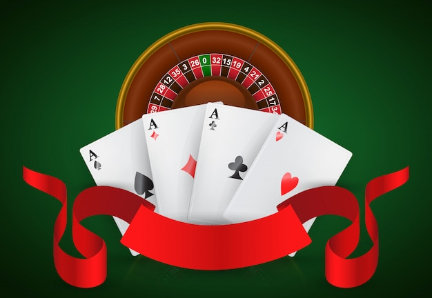 Casino roulette, four aces and red ribbon. casino business advertising