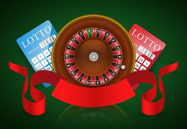 Casino roulette, lottery tickets and red ribbon. casino business advertising