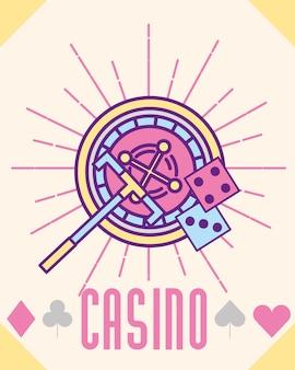 Casino roulette machine dices cartoon style