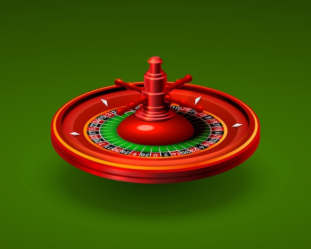 Реалистичный объект рулетки казино на зеленом фоне. векторная иллюстрация