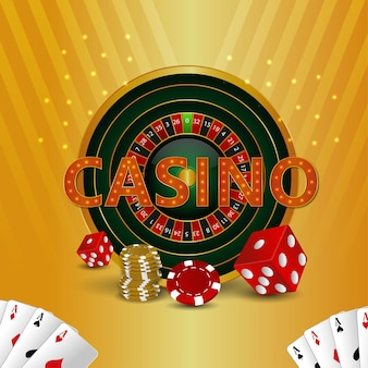 Casino roulette and poker dice and playing cards
