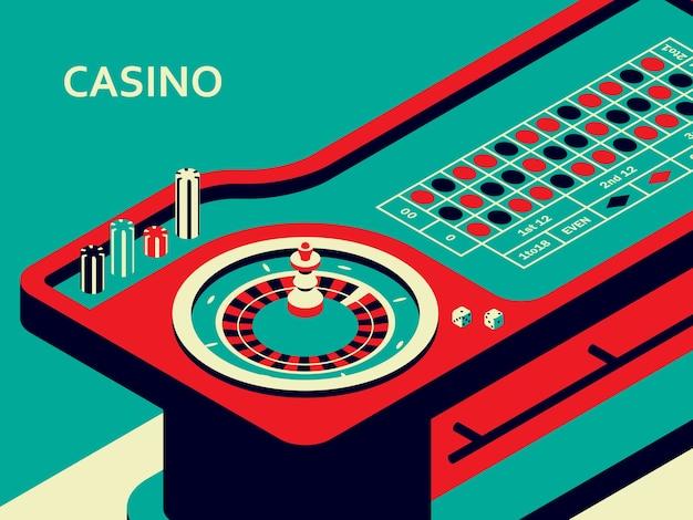 Стол для рулетки казино в изометрической плоский стиль. колесо, фишки и кубики
