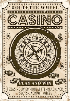 Casino roulette wheel advertising poster in vintage style with grunge textures vector illustration