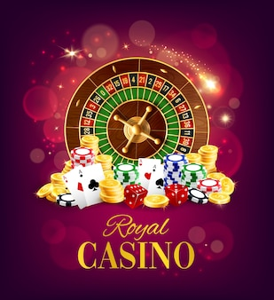Casino roulette wheel, golden coins and chips
