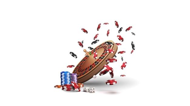 Колесо рулетки казино в перспективе с покерными фишками, изолированными на белом фоне. большой выигрыш в рулетке