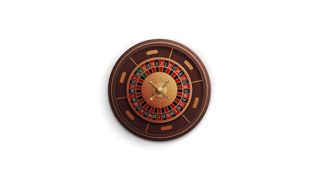 Casino roulette wheel isolated on white background, top view
