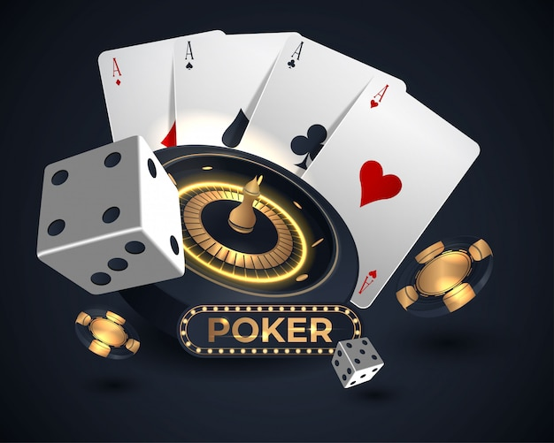 Casino roulette wheel and poker cards