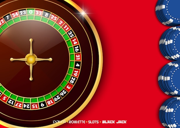 Casino roulette wheel with blue casino chips on red table