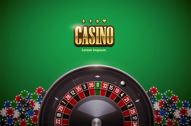 Casino roulette wheel with  chips isolated on green  table reali
