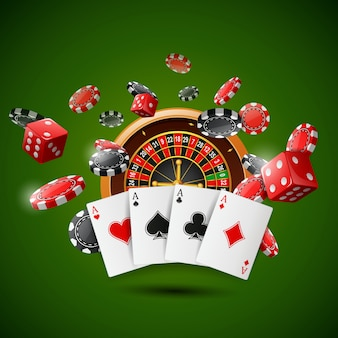 Casino roulette wheel with chips poker, playing cards and red dice on sparkling green .