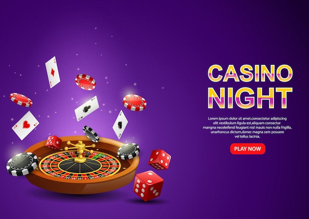 Casino roulette wheel with chips poker, playing cards and red dice on sparkling purple .