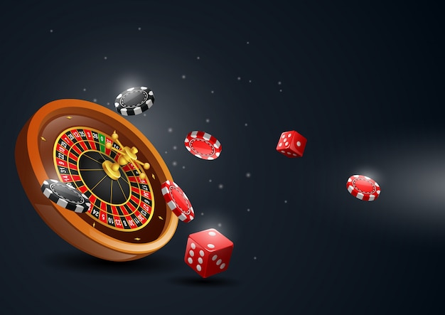 Casino roulette wheel with chips poker and red dice.