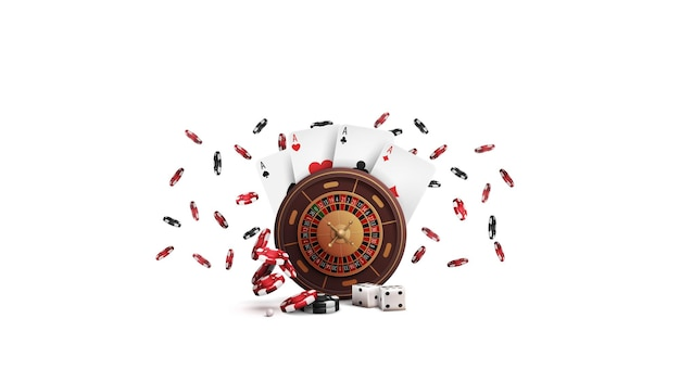 Casino roulette wheel with poker chips and playing cards isolated on white background. big win in roulette
