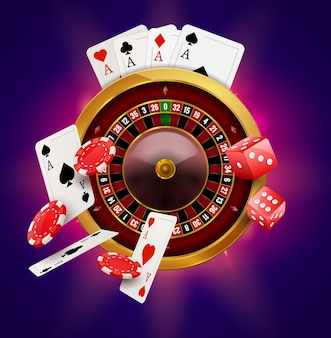 Casino roulette with chips, coins and red dice realistic gambling poster banner. casino vegas fortune roulette wheel design flyer.