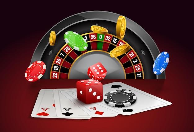칩, 빨간 주사위 현실적인 도박 포스터 배너와 카지노 룰렛. 카지노 라스베가스 포춘 룰렛 휠 디자인 전단지.