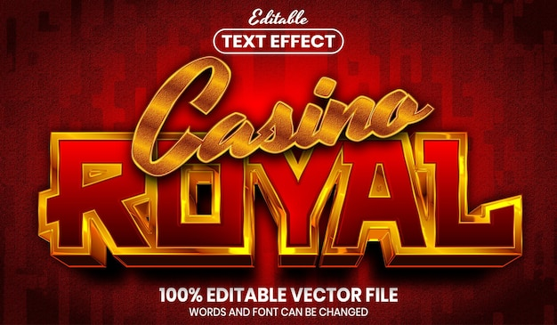 Casino royal text, font style editable text effect