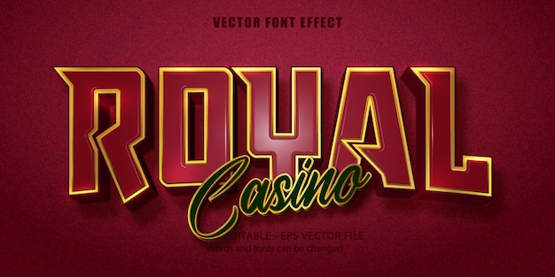 Casino royal  text, golden style editable text effect