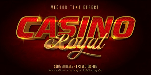 Casino royal text, jackpot prize style editable text effect