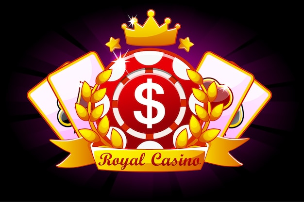 Casino royale banner with ribbon and crown