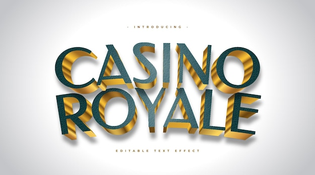 Casino royale text in green and gold style with 3d effect