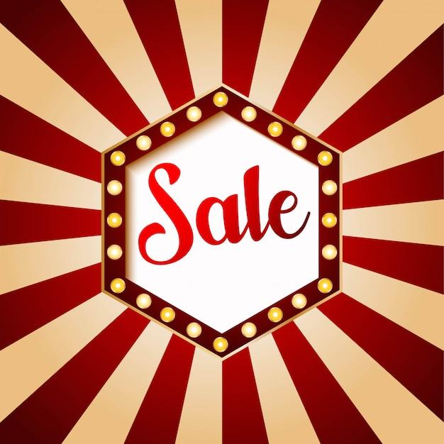 Casino sale banner hexagon. red color on vintage background illustration