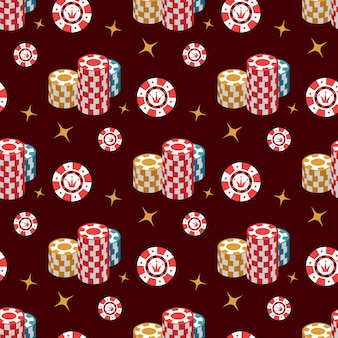 Casino seamless pattern with chip and stars